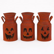 8 in. Halloween Metal Milk Can Luminary with Pumpkin Face