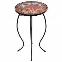 12 in. Dia Pumpkin Glass Table