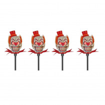 18 in. Scary-Clown Head Pathway Markers with LED Illumination (4-Set)