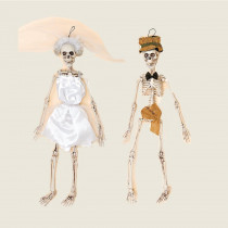 20 in. Halloween Skeleton Bride and Groom (Set of 2)