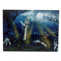 15 in. x 20 in. Halloween Zombie Graveyard LED Canvas with Sound