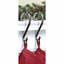 Haute Decor Stocking Scrolls Stocking Holders Bronze Embossed Holly (2-Pack)