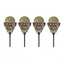 Home Accents 15 in. Zombie Head Pathway Markers with LED Illumination (4-Set)