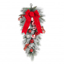 Home Accents Holiday 32 in. Flocked Pine Teardrop with Red and White Balls
