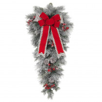 Home Accents Holiday 32 in. Unlit Snowy Pine Teardrop with Gray Striped and Red Velvet Bows