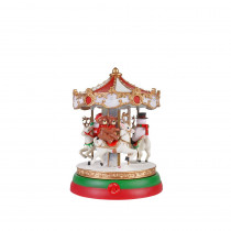 Home Accents Holiday 7 in. Animated Musical Lighted Carousel with LED Illumination and Sound