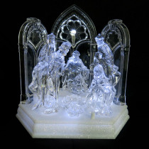 Home Accents Holiday 7.75 in. Christmas Village Crystalline Nativity Scene