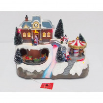 Home Accents Holiday 8.5 in. LED Train Station with Carrousel