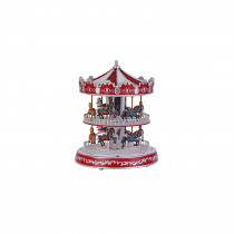 Home Accents Holiday 12 in. Animated Turning Double Decker Carousel with LED Illumination