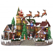 Home Accents Holiday 12.5 in. Animated Musical LED Village with Santa Sleigh