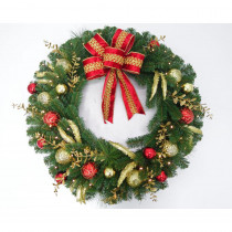 Home Accents Holiday 36 in. Pre-Lit LED New Plaza Artificial Wreath with 50 Warm White Lights