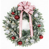 Home Accents Holiday 30 in. Battery Operated Frosted Mercury Artificial Wreath with 50 Clear LED Lights