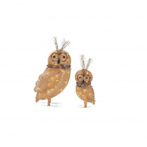 Home Accents Holiday Pre-Lit Burlap Owl Family (Set of 2)