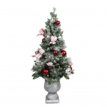 Home Accents Holiday 4 ft. Battery Operated Frosted Mercury Potted Artificial Christmas Tree with 50 Clear LED Lights