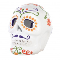Home Accents Holiday 14.37 in. Terra Cotta Skull with Moustache Luminary