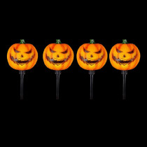Home Accents Holiday 15 in. Scary Jack-O-Lantern Pathway Markers with LED Illumination (4-Pack)