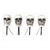 Home Accents Holiday 14-1/2 in. Blow Molded Skull Pathway Markers with LED Illumination (4-Set)