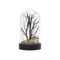 Home Accents Holiday 8.75 in. Tabletop Halloween Cloche with Orange LED Lights and Skull