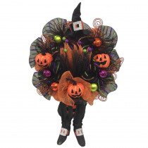 Home Accents Holiday 20 in. Mesh Halloween Wreath with Pumpkins and Witch Legs