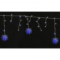 Home Accents Holiday 70-Light LED White Dome with Snowflakes Icicle Light Set