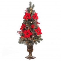 Home Accents Holiday 4 ft. Red Poinsettia and Twig Artificial Christmas Porch Tree with 50 UL Twinkle Lights