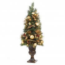Home Accents Holiday 4 ft. Gold Artificial Christmas Porch Tree with 50 UL Clear Twinkle Lights