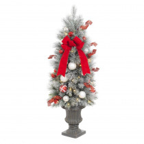 Home Accents Holiday 4 ft. Pre-Lit Flocked Porch Artificial Christmas Tree with 50 Clear Battery Operated LED Lights and Timer Function