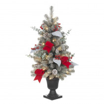 Home Accents Holiday 32 in. Pre-Lit Snowy Artificial Tree with 35 Clear UL Lights