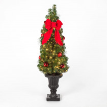 Home Accents Holiday 4.5 ft. Pre-Lit LED Mixed Pine Potted Artificial Christmas Porch Tree with 500 Clear Lights