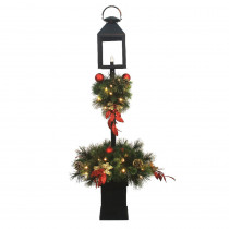 Home Accents Holiday 4 ft. Pre-Lit LED Artificial Christmas Lantern Porch Tree with 50-Warm White Light