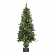 Home Accents Holiday 5 ft. Syracuse Cashmere Berry Potted Artificial Christmas Tree with 150 Clear Lights (Set of 2)