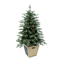 Home Accents Holiday 4 ft. Pre-Lit Balsam Artificial Christmas Porch Tree with Battery Operated Warm White LED light and Wood Pot