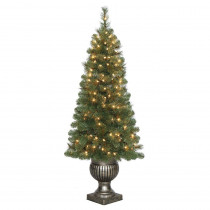 Home Accents Holiday 4.5 ft. Pre-Lit LED Wesley Spruce Potted Artificial Christmas Tree with 263 Tips and 150 Warm White Lights