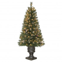 Home Accents Holiday 4.5 ft. Pre-Lit Alpine Potted Artificial Christmas Tree with 279 Tips, Pine cones, Glitter and 150 Clear Lights