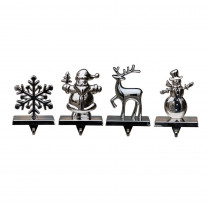 Home Accents Holiday Silver Stocking Holder 4 Asst-Deer Design