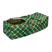 Honey-Can-Do Green and Red Plaid Rolling Artificial Tree Storage Bag for Trees up to 10 ft. Tall