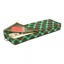 Honey-Can-Do 40.5 in. L x 13.5 in. W x 4.5 in. H Green Plaid Gift Wrap Organizer