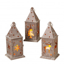10.83 in. H Metal Winter Lanterns (Set of 3)