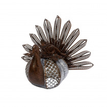 11.81 in. H Metal Rusted Metal Turkey