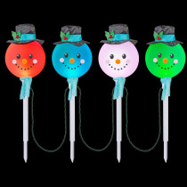 LightShow 25.20 in. Color Changing Snowman Pathway Stakes (Set of 4)