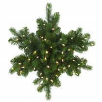 Martha Stewart Living 24 in. LED Pre-Lit Downswept Douglas Fir Snowflake Artificial Christmas Wreath