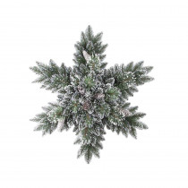Martha Stewart Living 32 in. Sparkling Pine Artificial Snowflakes Swag with 35 Clear Lights