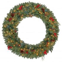 martha stewart living 48 in pre lit winslow fir artificial christmas wreath with clear