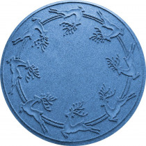 Bungalow Flooring Aqua Shield Medium Blue 35 in. Round Reindeer Run Under the Tree Mat