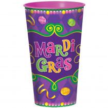 Amscan 4 in. x 7 in. Plastic Mardi Gras 32 oz. Cups (7-Pack)