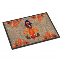Caroline's Treasures 18 in. x 27 in. Indoor/Outdoor Thanksgiving Turkey Pilgrim Fleur de lis Door Mat