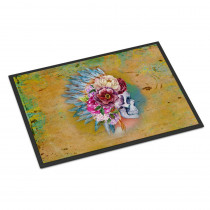Caroline's Treasures 18 in. x 27 in. Indoor/Outdoor Day of The Dead Flowers Skull Door Mat