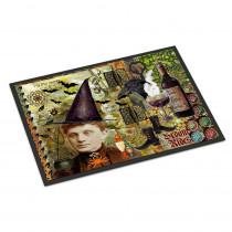 Caroline's Treasures 18 in. x 27 in. Indoor/Outdoor Broom Rides and Spells Halloween Door Mat