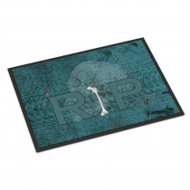 Caroline's Treasures 18 in. x 27 in. Indoor/Outdoor RIP Rest in Peace with Spider Web Halloween Door Mat