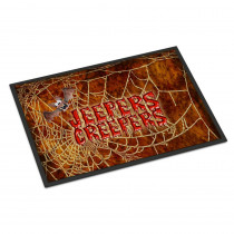 Caroline's Treasures 18 in. x 27 in. Indoor/Outdoor Jeepers Creepers with Bat and Spider Web Halloween Door Mat